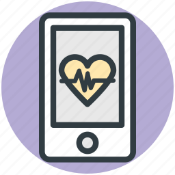 health app, heart line, medical app, mobile, pulsation icon