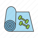 dumbbell, fitness, mat, sport, training, workout, yoga icon