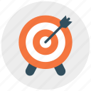 arrrow, bullseye, center, dart, goal, shooting, target icon icon