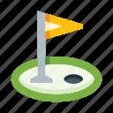 flag, flagpole, golf, hole, game, sport