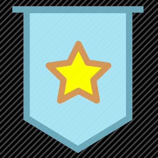 acclaim, achievement, commend, compliment, flag, praise icon
