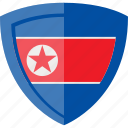 flag, north korea, shield icon
