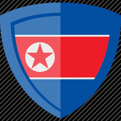 flag, north korea, shield icon