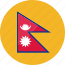 country, flags, location, national, nepal, world icon