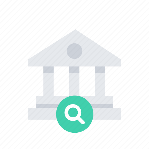 bank, building, business, estate, finance, money, search icon