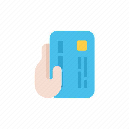 bank, blue, business, card, hand, money, payment icon