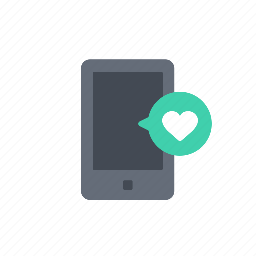 chat, communication, like, love, message, mobile, phone icon