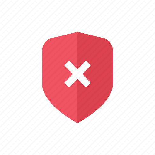 cross, locked, red, safety, secure, security, shield icon