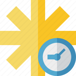 asterisk, clock, password, pharmacy, star, yellow icon