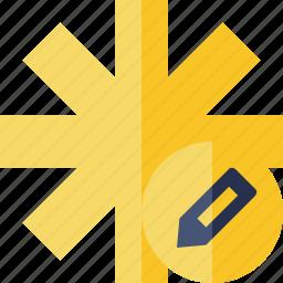 asterisk, edit, password, pharmacy, star, yellow icon