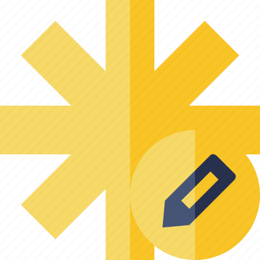 asterisk, edit, password, pharmacy, star, yellow icon