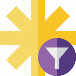 asterisk, filter, password, pharmacy, star, yellow icon