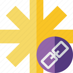 asterisk, link, password, pharmacy, star, yellow icon