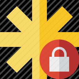 asterisk, lock, password, pharmacy, star, yellow icon