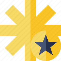 asterisk, password, pharmacy, star, yellow icon
