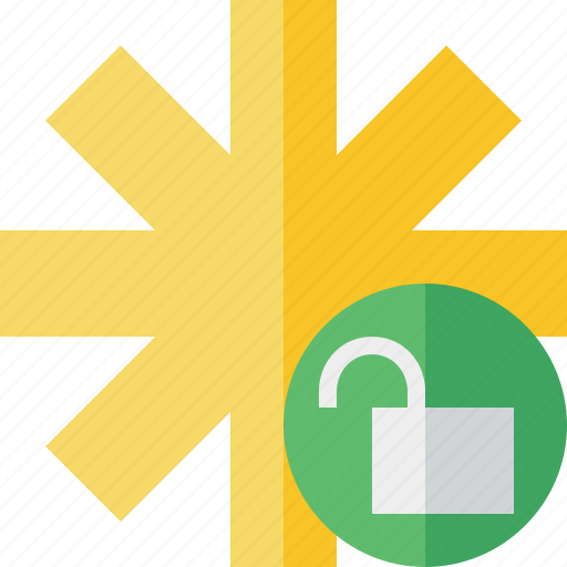 asterisk, password, pharmacy, star, unlock, yellow icon