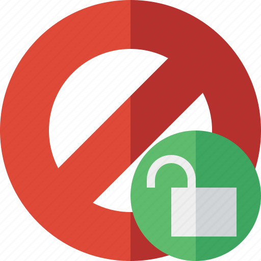 block, cancel, lock, stop, unlock icon