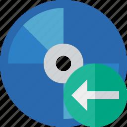 bluray, compact, digital, disc, disk, dvd, media, previous icon