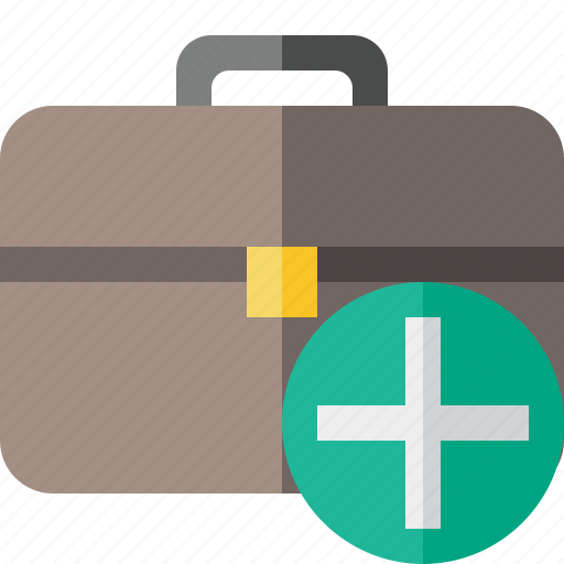 add, bag, briefcase, business, portfolio, suitcase, work icon