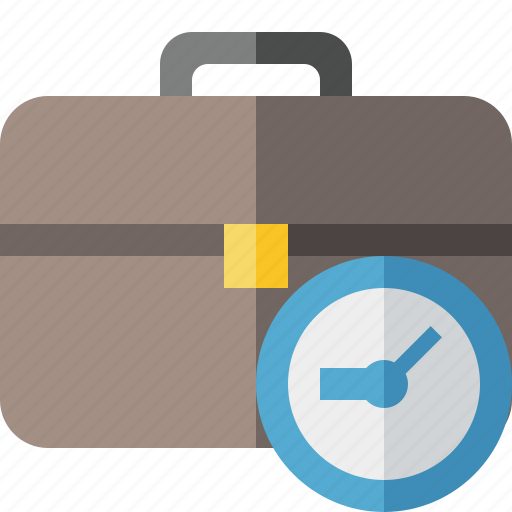 bag, briefcase, business, clock, portfolio, suitcase, work icon