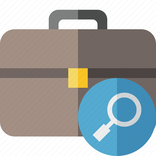 bag, briefcase, business, portfolio, search, suitcase, work icon