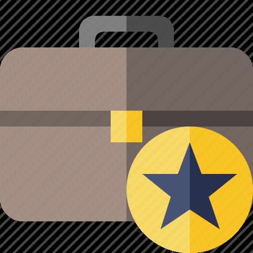 bag, briefcase, business, portfolio, star, suitcase, work icon