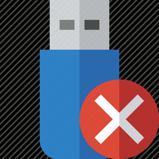 cancel, data, disk, drive, flash, removable, storage, usb icon