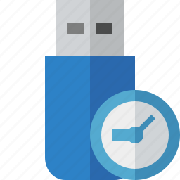 clock, data, disk, drive, flash, removable, storage, usb icon