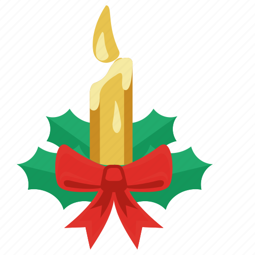 Bow tie, candle, celebration, christmas, christmas candle, green leaf, holiday icon - Download on Iconfinder