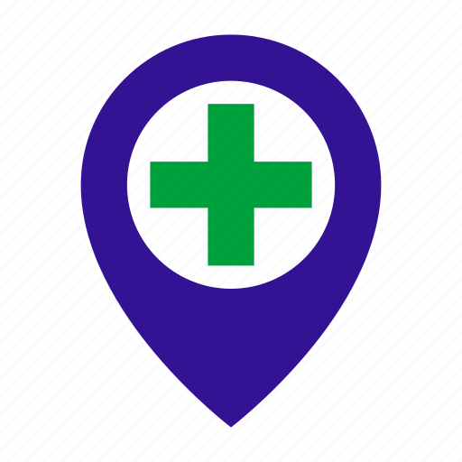 hospital, map, map marker, map place, medical, medicine, navigation icon