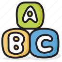 alphabet blocks, education, abc block, kindergarten, english icon