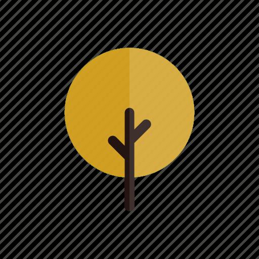autumn, branches, circle, nature, plant, tree, yellow icon
