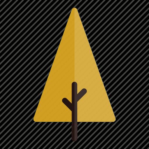 autumn, branches, nature, plant, tree, triangle, yellow icon