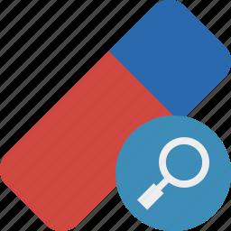 clean, delete, erase, eraser, remove, rubber, search icon