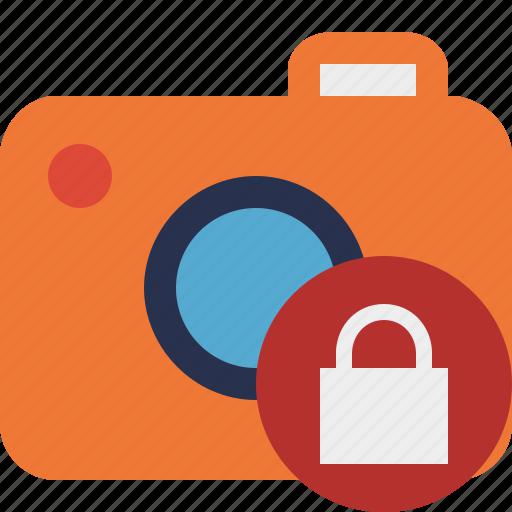 camera, lock, photo, photocamera, photography, picture, snapshot icon