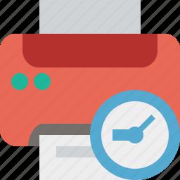 clock, document, paper, print, printer, printing icon