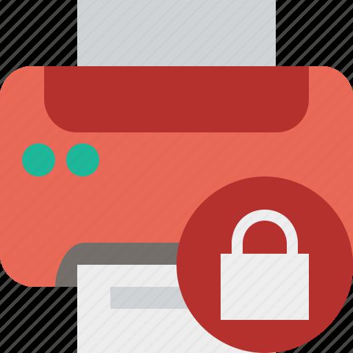 Document, lock, paper, print, printer, printing icon - Download on Iconfinder