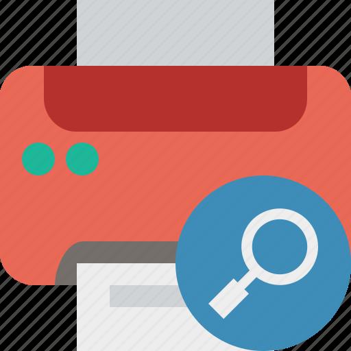 document, paper, print, printer, printing, search icon