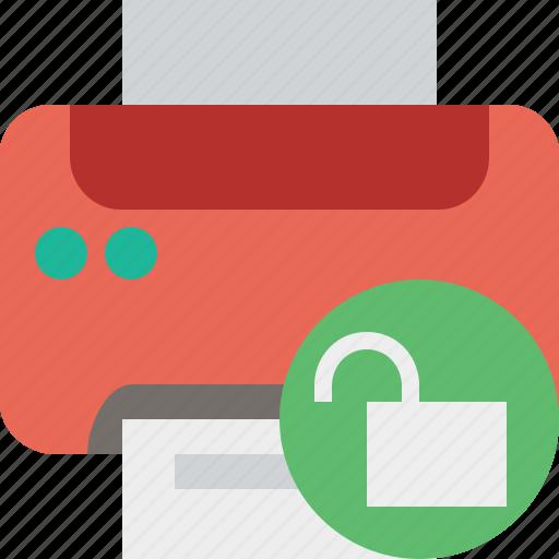 Document, paper, print, printer, printing, unlock icon - Download on Iconfinder