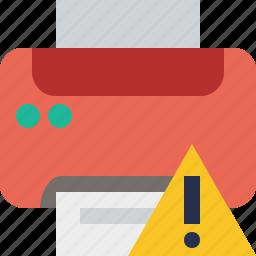 document, paper, print, printer, printing, warning icon