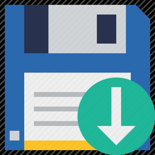 backup, data, disk, download, file, guardar, save icon