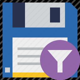 backup, data, disk, download, file, filter, guardar, save icon