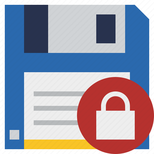 backup, data, disk, download, file, guardar, lock, save icon