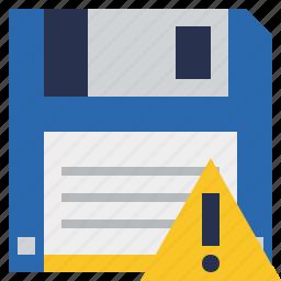 backup, data, disk, download, file, save, warning icon