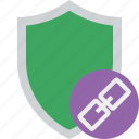 link, protection, safety, secure, security, shield icon