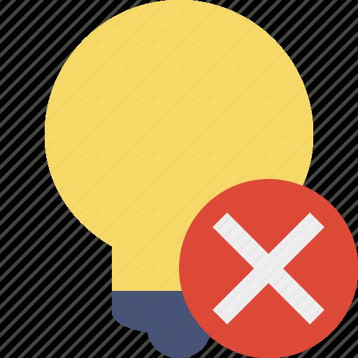 bulb, cancel, idea, light, tip icon