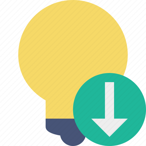 bulb, download, idea, light, tip icon