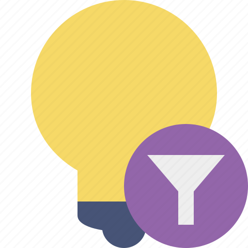 bulb, filter, idea, light, tip icon