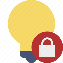 bulb, idea, light, lock, tip icon