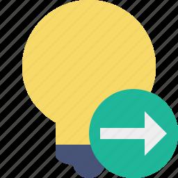 bulb, idea, light, next, tip icon